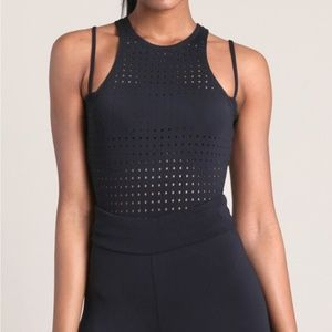 Cushnie et Ochs Black Violette Preforated Bodysuit